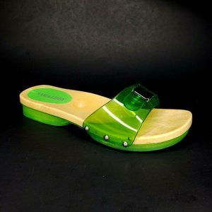 Sam & Libby Slides Sandals Faux Wood Clear Green 7